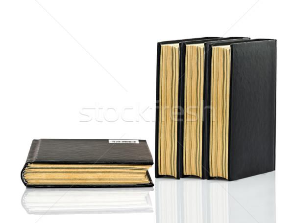 черный книга тень белый фон Сток-фото © stoonn