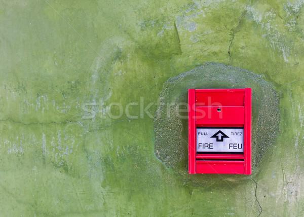 Stock fotó: Piros · tűzjelző · zöld · fal · üveg · információ