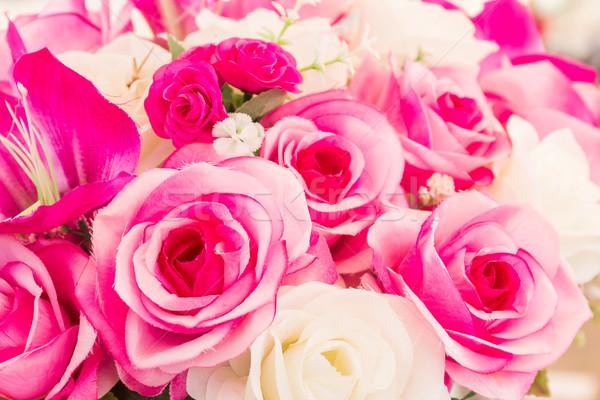 Pink and white fake flower handmade sewing flowers Stock photo © stoonn