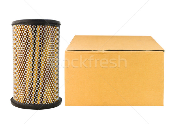 Air filter car and paper box isolated on white  Stock photo © stoonn