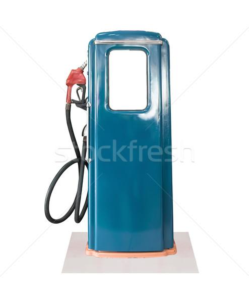 Klasszikus kék benzinpumpa fehér öreg benzin Stock fotó © stoonn