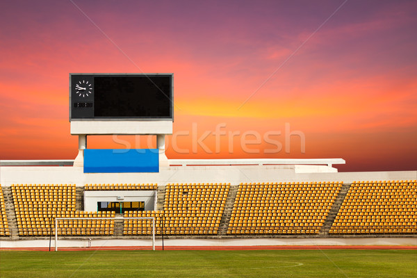 Stade tableau de bord orange horloge au-dessus Photo stock © stoonn
