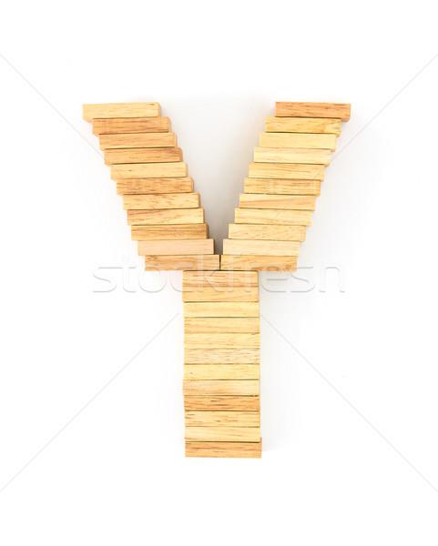 Holz Domino Englisch Alphabet Briefe Weiß Stock Foto