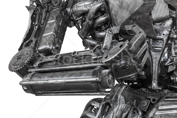 Closeup War machine sculpture made from scrap metal Stock photo © stoonn