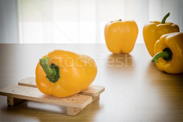 Fresh yellow bell peppers Stock photo © stoonn