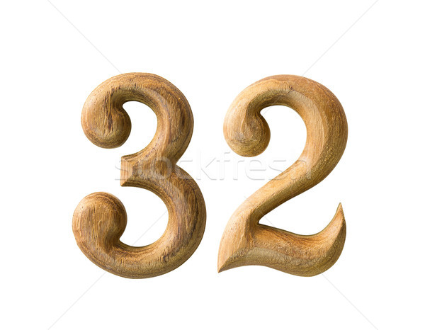 Stock photo: Wooden numeric 32