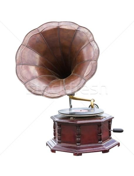 Stok fotoğraf: Bağbozumu · gramofon · disk · yalıtılmış · beyaz · müzik