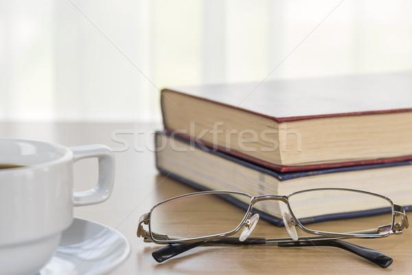 книга очки бумаги кофе Сток-фото © stoonn