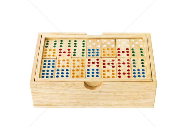 Fából készült dominó doboz izolált fehér vágási körvonal Stock fotó © stoonn