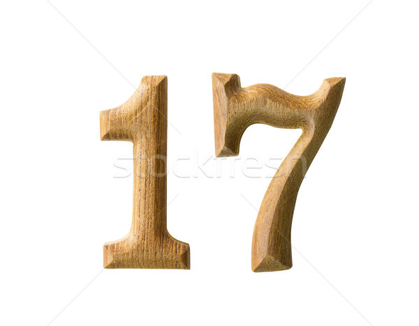 Wooden numeric 17 Stock photo © stoonn