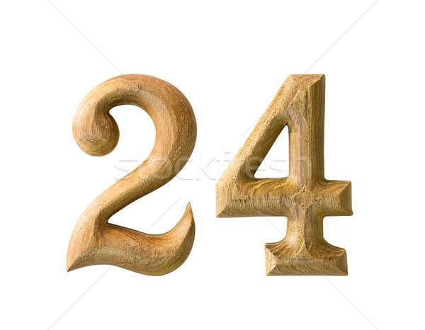 Houten numeriek 24 mooie schaduw witte Stockfoto © stoonn