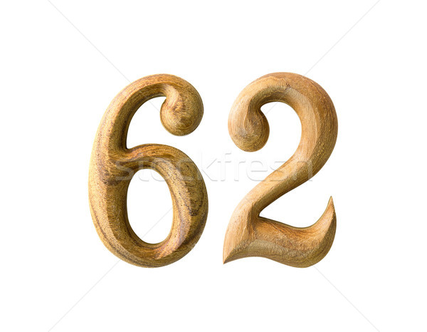 Wooden numeric 62 Stock photo © stoonn