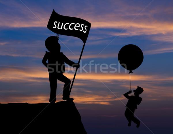 Concept skyline ,Cartoon man flying away by using balloon and ma Stock photo © stoonn