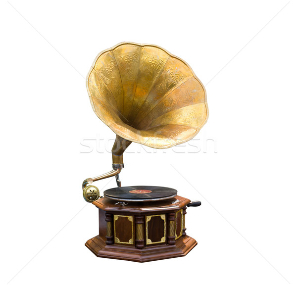 Retro edad gramófono cuerno orador madera Foto stock © stoonn