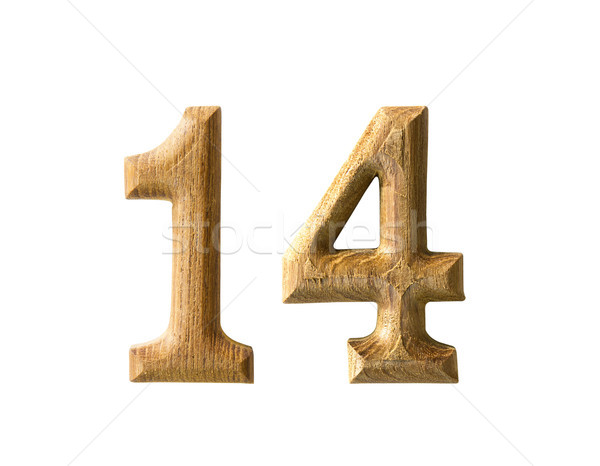 Wooden numeric 14 Stock photo © stoonn