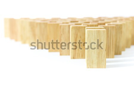 Ahşap domino beyaz iş oyuncak Stok fotoğraf © stoonn