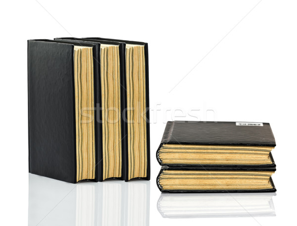 Closed black book with shadow on white background Stock photo © stoonn