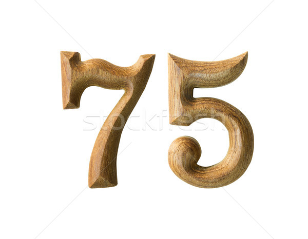 Wooden numeric 75 Stock photo © stoonn