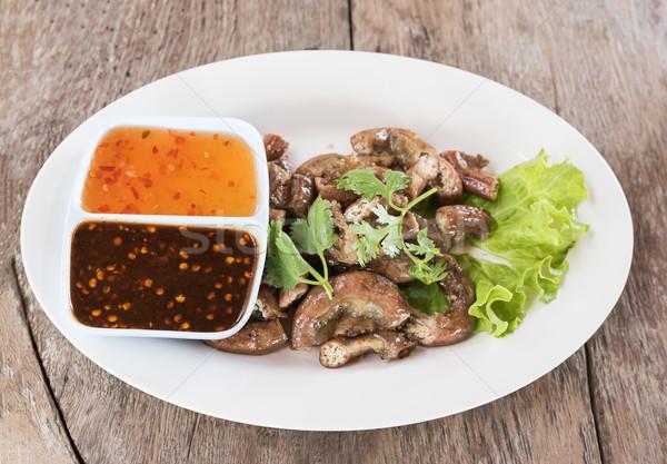 Top view suini intestino alla griglia thai Foto d'archivio © stoonn