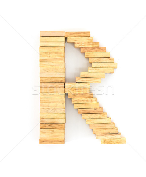 Wooden domino alphabet,R Stock photo © stoonn