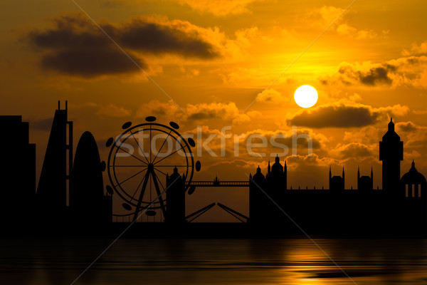 Dramatic London skyline with sunset  Stock photo © stoonn
