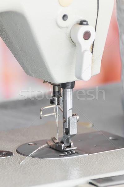 Közelkép ipari varrógép textil gyár szövet Stock fotó © stoonn