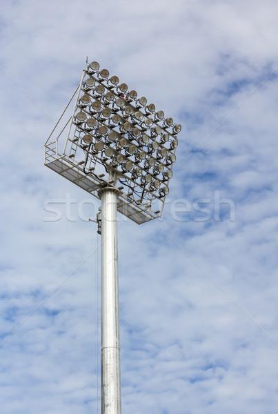 Spotlight wieża stadion Błękitne niebo niebo ulicy Zdjęcia stock © stoonn