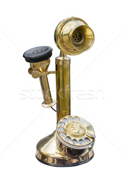 Antigo dourado latão telefone isolado branco Foto stock © stoonn