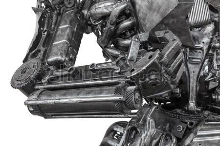 Closeup War machine sculpture made from scrap metal Stock photo © stoonn