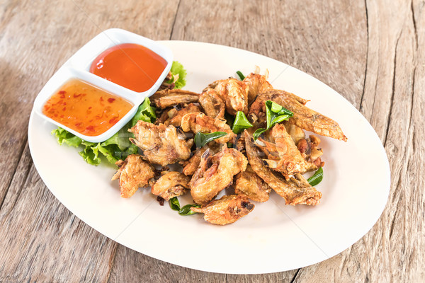 Top view Deep fried chicken wings Stock photo © stoonn