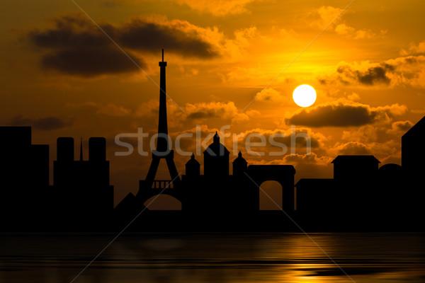 Dramático Paris linha do horizonte pôr do sol atrás nuvens Foto stock © stoonn