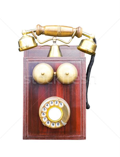 Antieke houten telefoon geïsoleerd witte kantoor Stockfoto © stoonn
