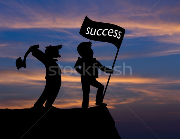 Człowiek utrzymać topór banderą sukces działalności Zdjęcia stock © stoonn