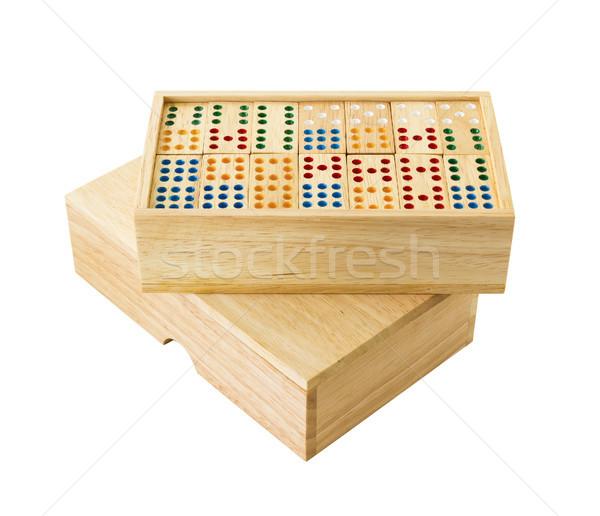 Wooden Domino in box Stock photo © stoonn