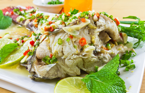 Spicy steamed fish Stock photo © stoonn