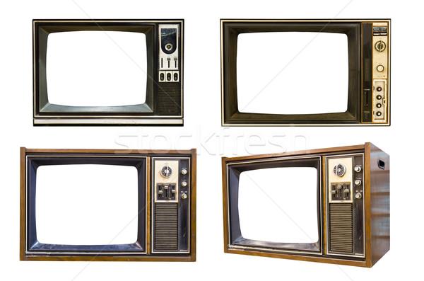 Retro klasszikus televízió fehér film fekete Stock fotó © stoonn