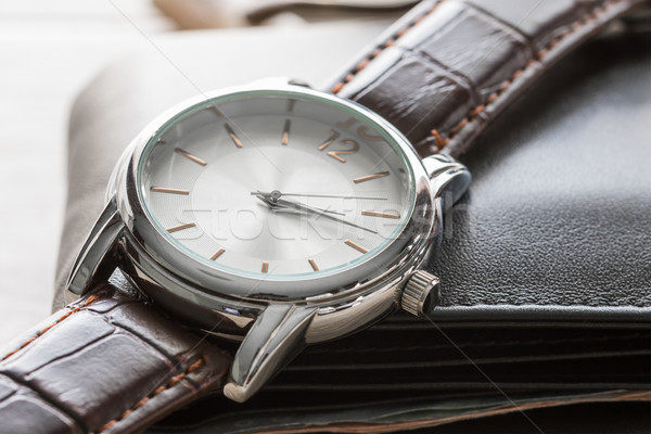 Close up watch and wallet  Stock photo © stoonn