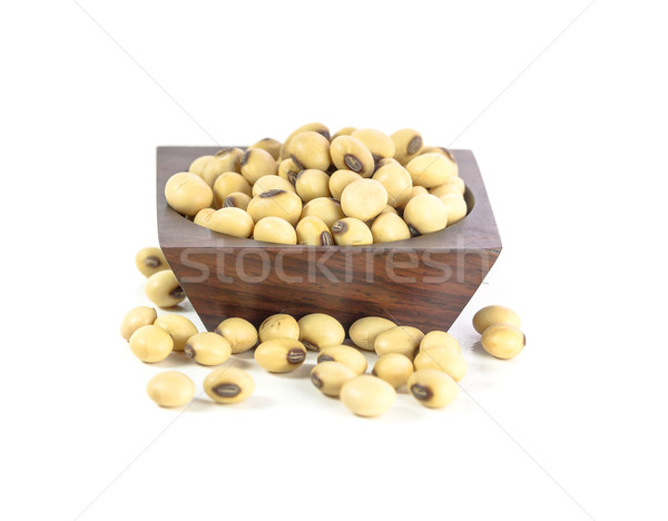 Soybeans in wood bowl Stock photo © stoonn
