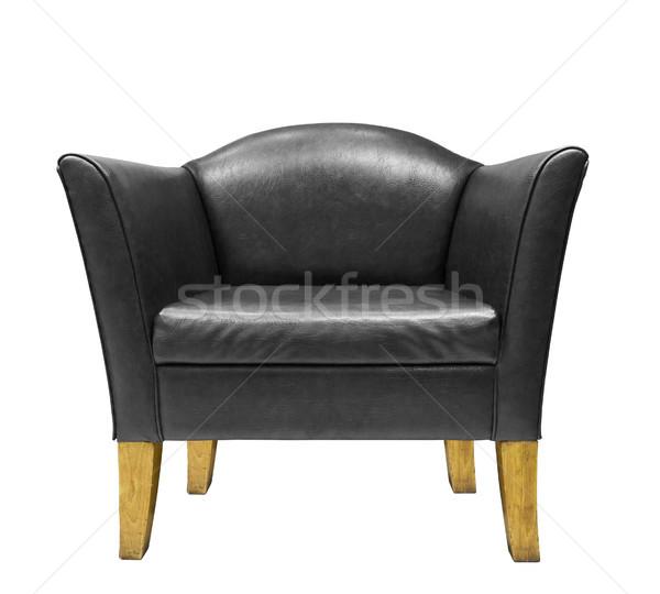 Caro preto couro poltrona isolado branco Foto stock © stoonn