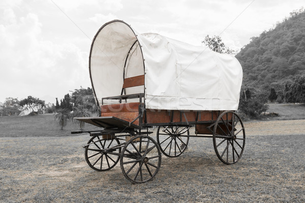 Black & White Covered wagon  Stock photo © stoonn