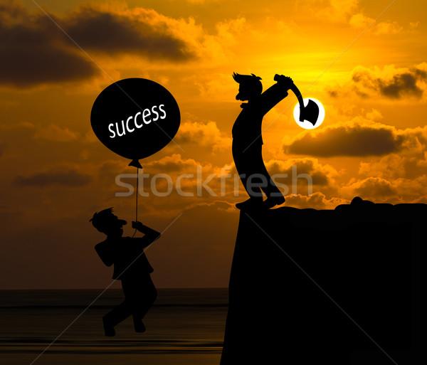 Concept skyline,Cartoon  flying away by using balloon , Being hi Stock photo © stoonn