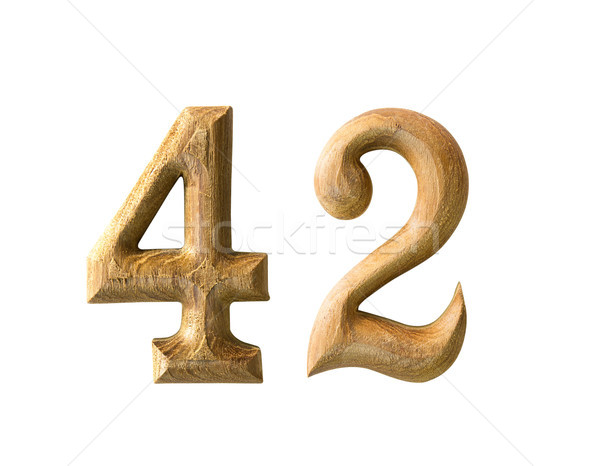 Wooden numeric 42 Stock photo © stoonn