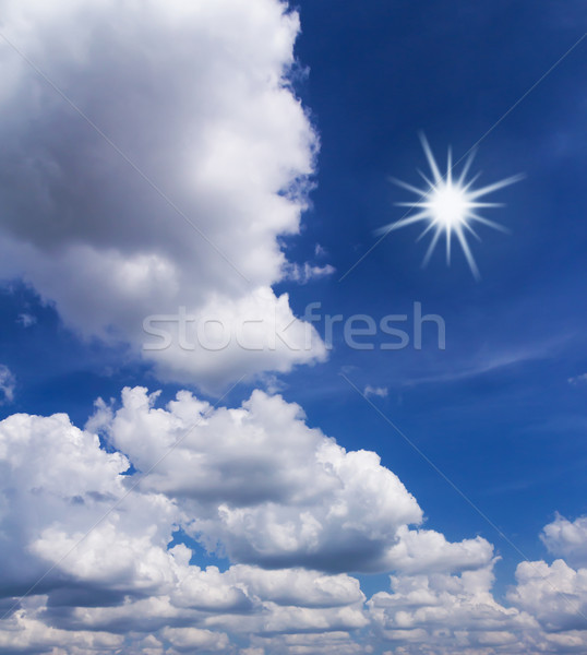Blue sky with white clouds and sun Stock photo © stoonn