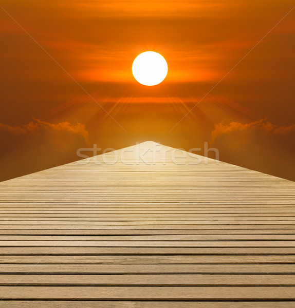 Red sunset over  wood walkway Stock photo © stoonn