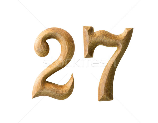 Stock photo: Wooden numeric 27