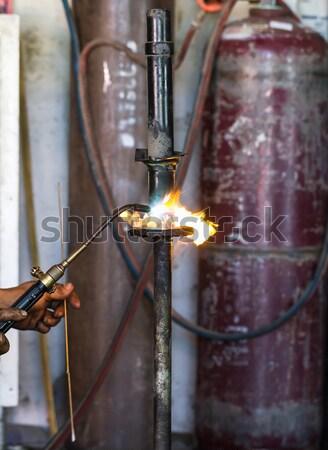 Choque carro oficina fogo Foto stock © stoonn