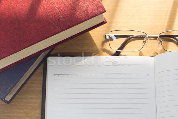 Defter boş sayfa ahşap büro kâğıt kitap Stok fotoğraf © stoonn