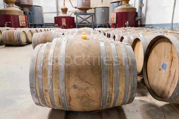 Cantina vino legno vetro retro piano Foto d'archivio © stoonn