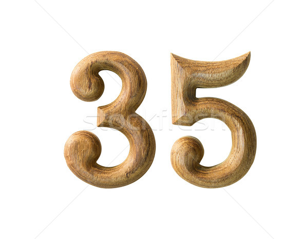 Wooden numeric 35 Stock photo © stoonn