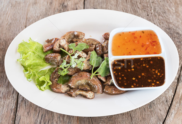 Top view Pig's intestines grilled thai style food Stock photo © stoonn
